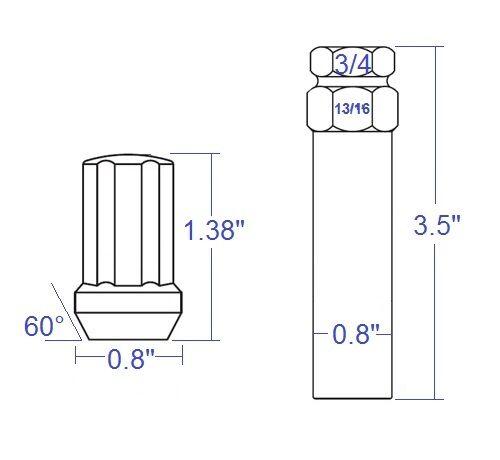 20 PCs Black Spline Lug Nuts with Key M14x1.5 Cone Seat Long Closed End
