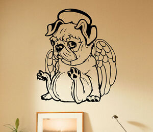 Dog Wall Stickers Bulldog Puppy Breed Pet Animal Quotes Wall Decor Suitable for Family Living Room Bedroom Vinyl Contemporary Wall Stickers(Black 29X20inches VODOE Pug Wall Decal