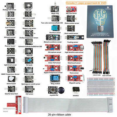 New SunFounder Lab w/ Project  Book 37 modules Sensor Kit For Raspberry Pi