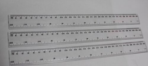 """3 X CLEAR PLASTIC RULERS 30cm 12/""""inch FLEXIBLE SHATTER RESISTANT LIGHTWEIGHT"""