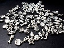 150pcs Acrylic MIXED Shell Sea Horse Starfish Fish Beads TIBETAN ANTIQUE SILVER