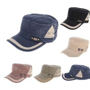 60aeb8aea78 Men s Cotton Army Cap Cadet Hat Military Flat Top Adjustable ...