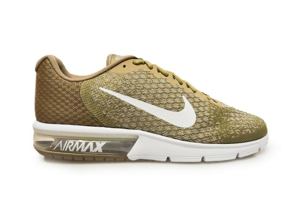 Mens Nike Air Max Sequent 2 - 852461 2018 - Khaki White Sting White Trainers Casual wild