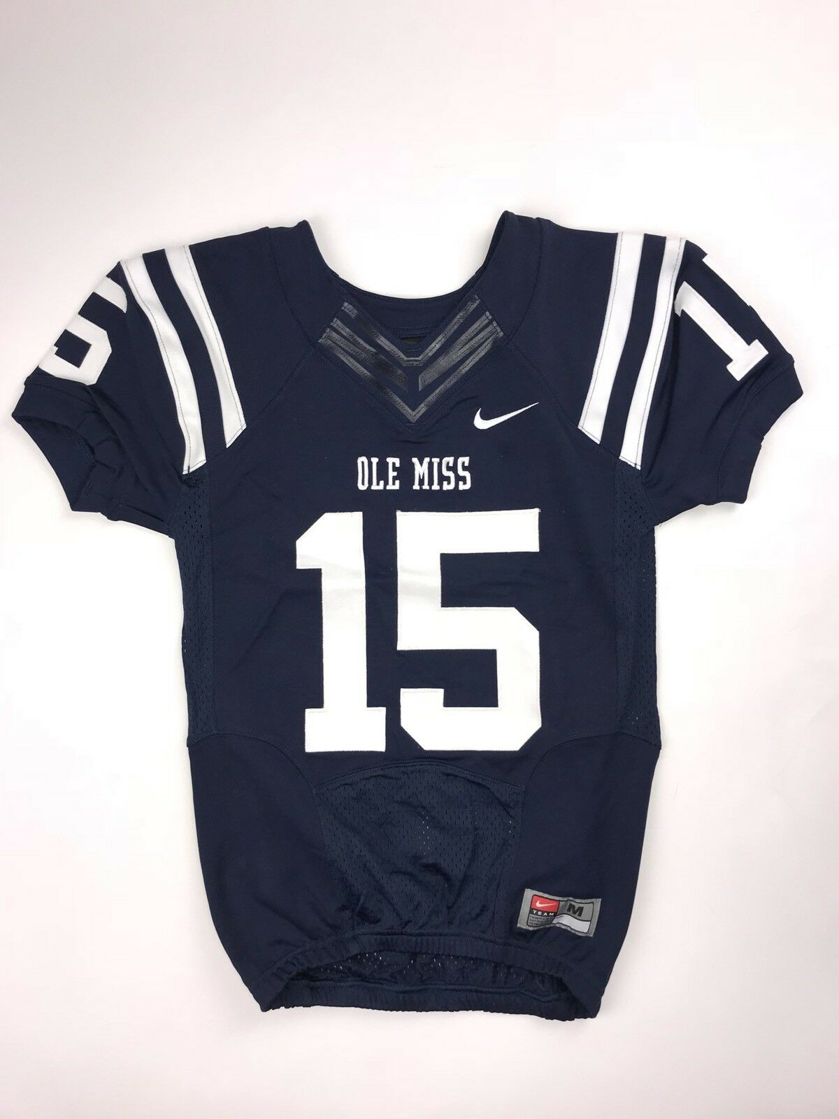 check out 1a3b8 d4742 RARE Nike Ole Miss Boys M Football Navy Blue Authentic Jersey
