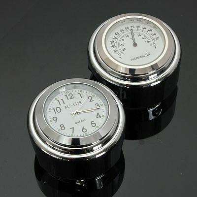 7/8'' to 1'' Chrome Motorcycle Cruiser Chopper Handlebar Dial Clock Thermometer