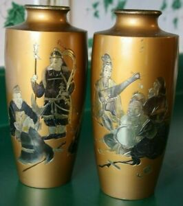 VINTAGE-PAIR-MIXED-METAL-MEIJI-JAPANESE-BRONZE-VASES-SIGNED