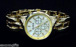 Mens-CHRONOGRAPH-STYLE-Wrist-WATCH-Gold-Bracelet-Band-Pearlized-Rhinestone-Face