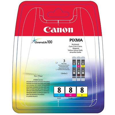 GENUINE CANON PIXMA CLI-8 C/M/Y - 3 COLOUR PRINTER INK CARTRIDGE PACK (0621B029)