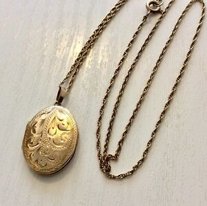 Lovely-Ladies-Vintage-9-Carat-Gold-Little-Oval-Locket-Pendant-amp-9CT-Fine-Chain