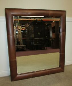 Image Is Loading Leather Framed Wall Mirror Dresser Hanging Beveled