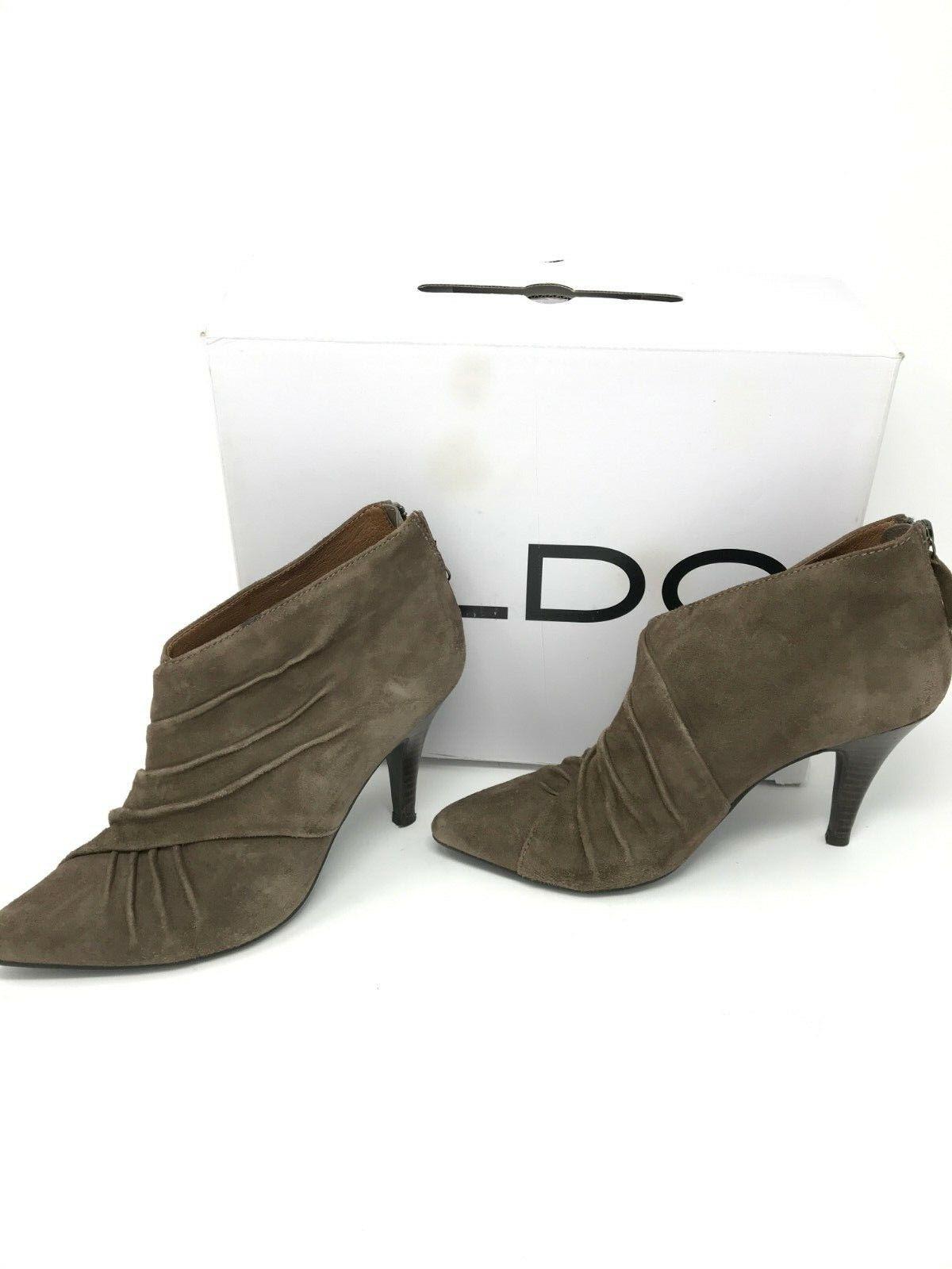 Aldo Women's Camilo Suede Ankle Booties Tan SZ 8 Pointed Zipper EUC Box included
