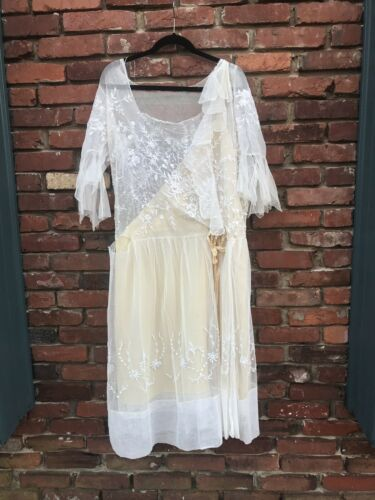 Antique Edwardian White Mesh Dress with Floral Emb