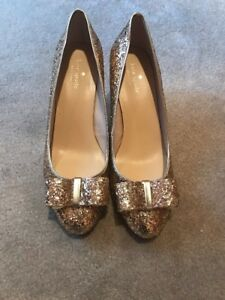 748726cddc9f BRAND NEW KATE SPADE GLITTER BOW GOLD SEQUIN PUMP SHOES STILETTO ...