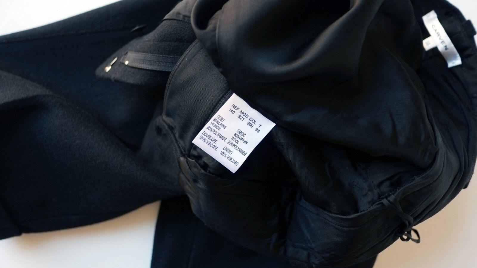 CARVEN Nuovo di zecca-SU zecca-SU zecca-SU MISURA  City  Pantaloncini In Nero Spazzolato Lana, EU38 UK8 5a14cb