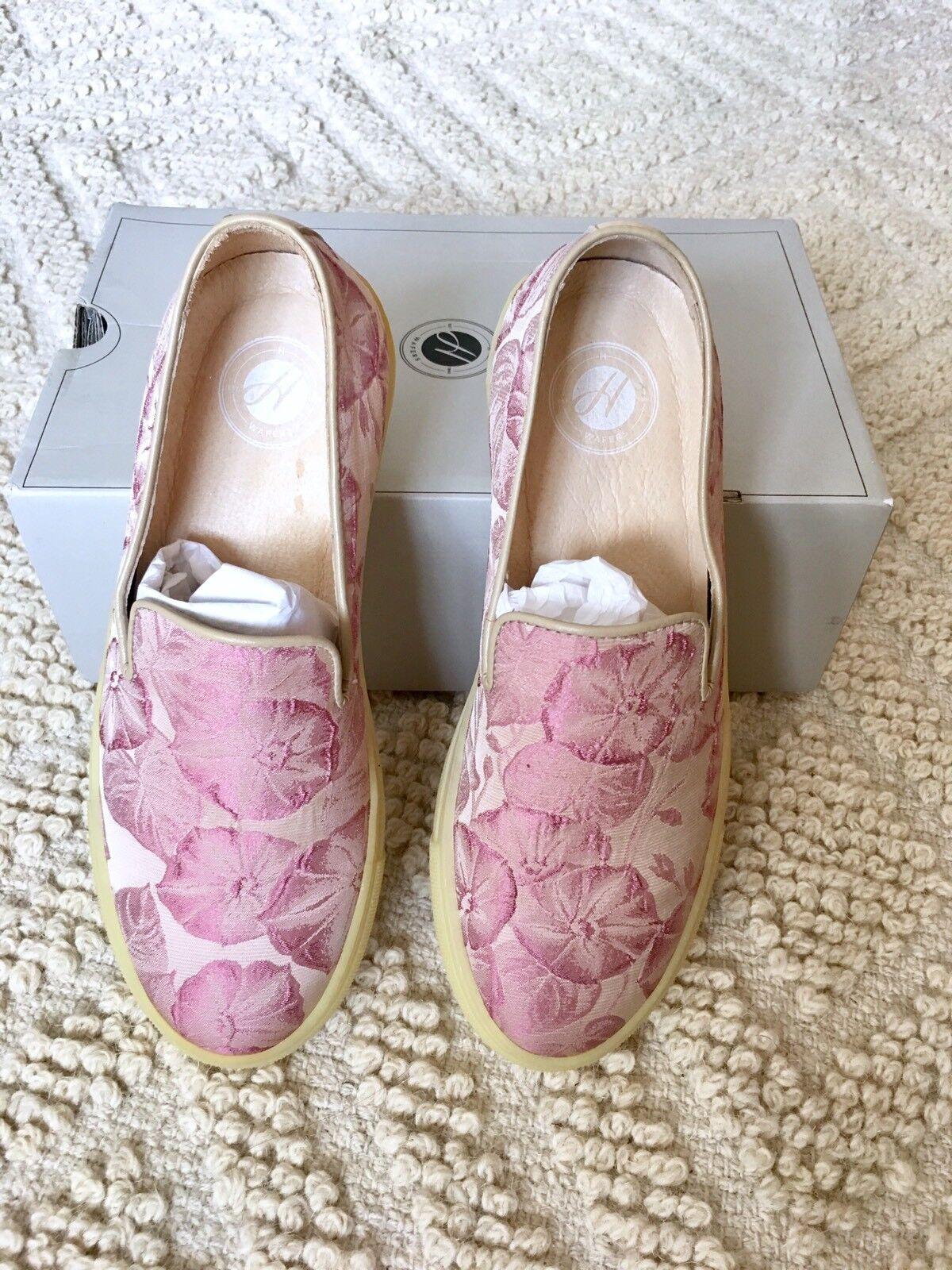 BNIB H by HUDSON ANNUK Pink Floral Slip On PLIMSOLLS PLIMSOLLS On FLATS 38 5 fb1073