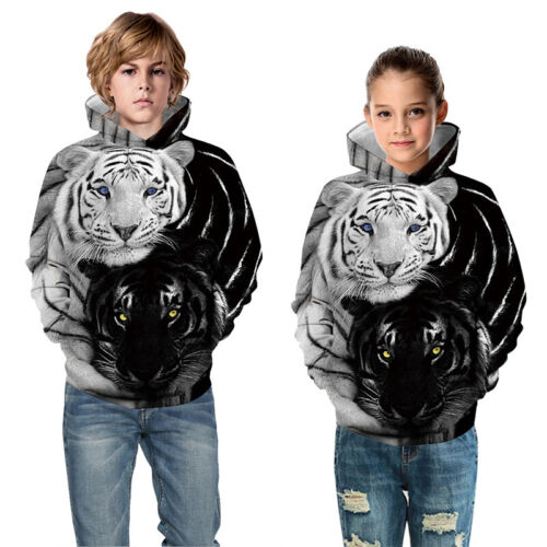 Wolf Tiger Pattern Kids 3D Hoodie Sweatshirt Pullover Jumper Top Casual Costumes