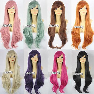 80cm Gelockt Fashion Anime Cosplay Party Show Haar Wig Perücke Vielzahl Farben