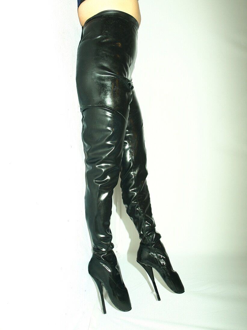 LATEX RUBBER BALLET HIGH BOOTS SIZE 9-16 HEEL-8,5' - PRODUCER- POLAND