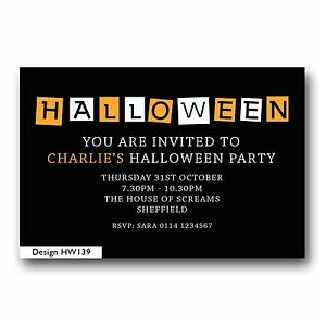 Image Is Loading 10 Personalised Halloween Birthday Party Invitations Childrens Adults