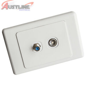 2-Gang-TV-Antenna-Aerial-PAL-PAY-TV-F-Type-2Port-DATAMASTER-Wall-Plate-dw2-2TV