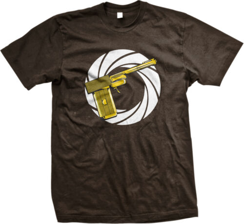 Golden Gun Movie Action Spy Shoot Gold Kill Secret Bullet Spiral Men/'s T-Shirt