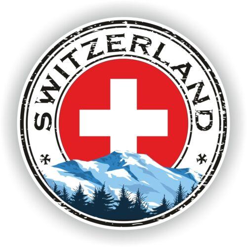 Seal Sticker of Switzerland Stamp Bumper Roundel Truck Laptop Car