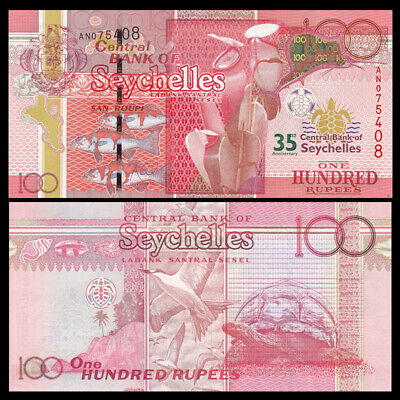 2013 P-47 Commemorative 35th Anniversary Central Bank Unc Seychelles 100 Rupees