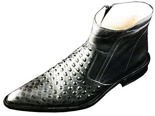 Original Chelsy Diseñador Botines Cuero Zapato de Hombre Avestruz Remaches 44