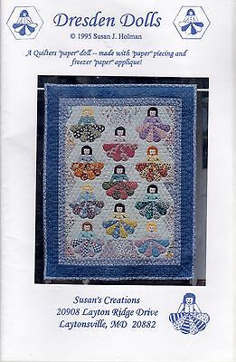 Dresden Dolls Quilting Pattern Susan's Creations Holman 1995 Appliques New