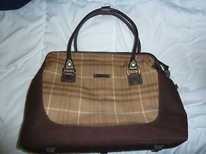 Details About Brown Plaid Canvas Ed Bauer Tote Carry On Overnight Laptop Bag