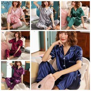 78c1a890117a Image is loading Ladies-Satin-Pyjamas-Sets-Summer-Womens-PJs-Shirt-