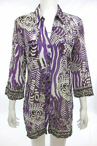 GORGEOUS BIBA TUNIC BLOUSE PURPLE WHITE WITH SEQUINS Size S M 34