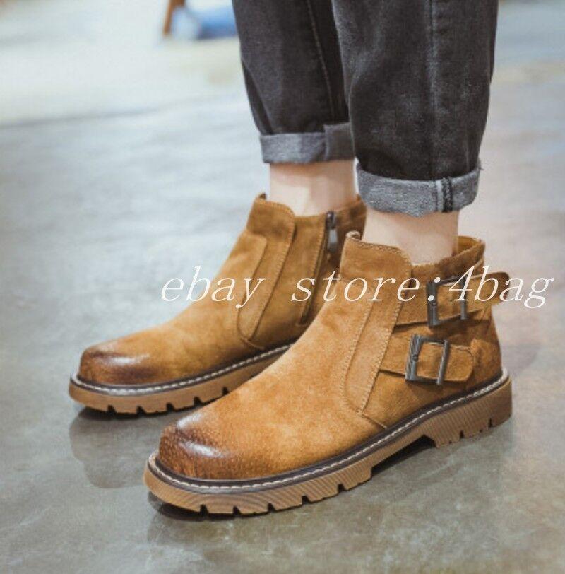 Hebillas de moda para hombre de combate militares Punta rojoonda botas al Tobillo Zapatos botas De Montar