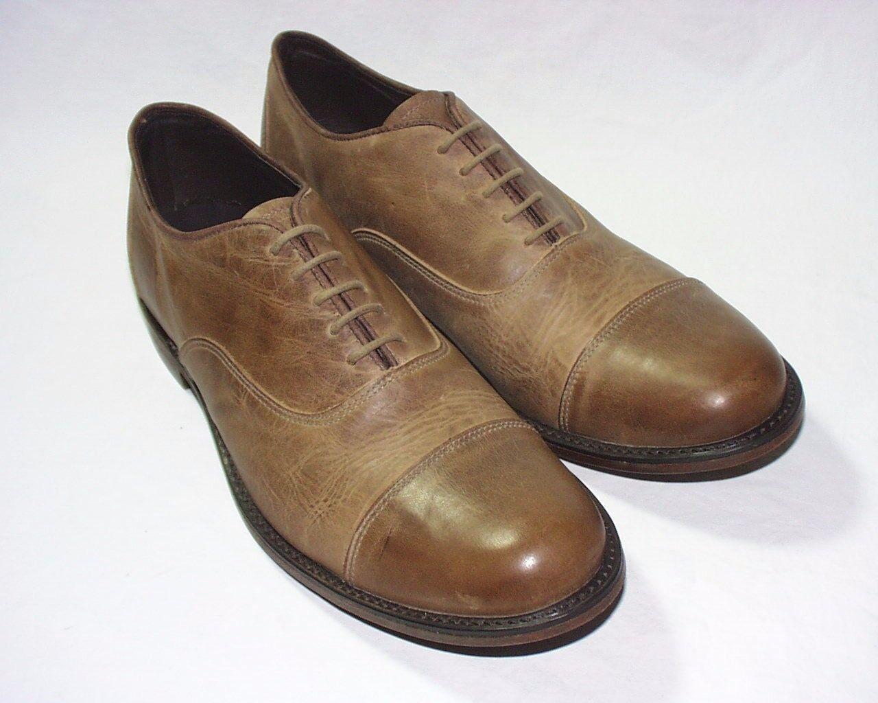 Vintage schuhe Company Company Company Barron Cap Toe Oxfords, Distressed Leather Upper, Tan, New 955076