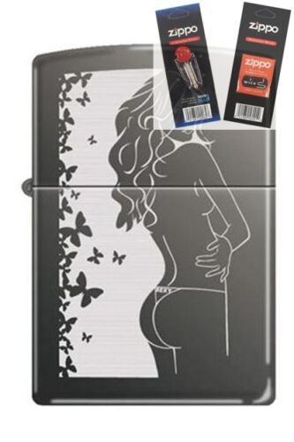 Zippo 3228 cindy black ice Lighter with FLINT & WICK GIFT SET