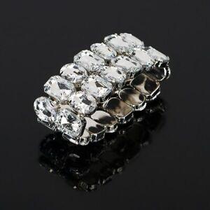 Breit Armband Manchette Strass Armreif Xl Silberfarbig Kristall Elastisch Klar