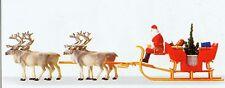 Weihnachtsschlitten Rentiere Preiser 30399 Figuren Spur H0 (16,5 mm) Zubehör OVP