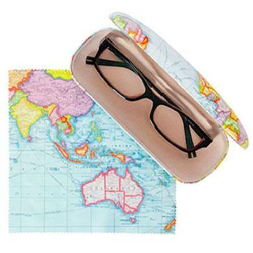 World Map Blue Pattern Hard Reading Glasses Case + Optical Microfibre Cloth  New