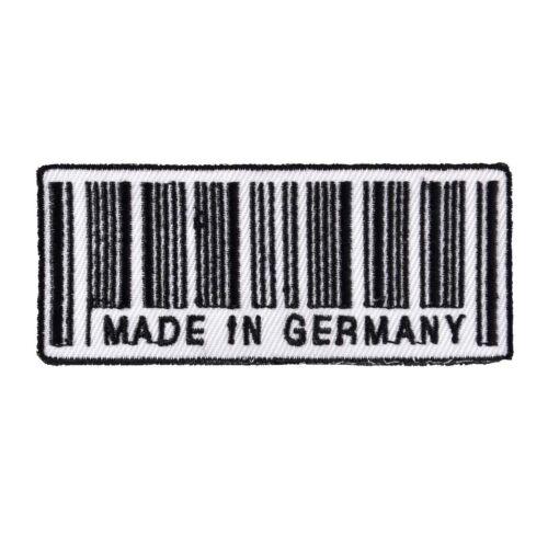 Aufnäher Aufbügler Made in Germany 8,5 cm strichcode deutschland biker kutte