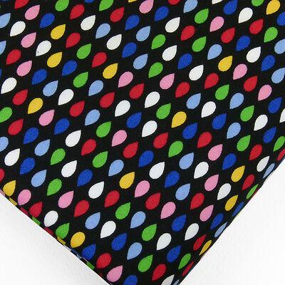 100% Cotton Fabric FQ Raindrop Retro Water Drop Vintage Dot Spot Quilt VP1 Black