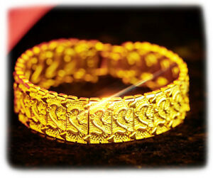 18k-Yellow-Gold-Mens-Womens-Dragon-Link-Chain-Bracelet-7-5-034-8-034-8-5-034-9-034-Inch