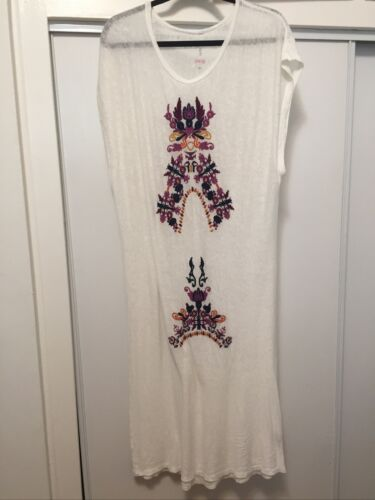 Johnny Was Sheer Linen Floral Dress/ Tunic with Em