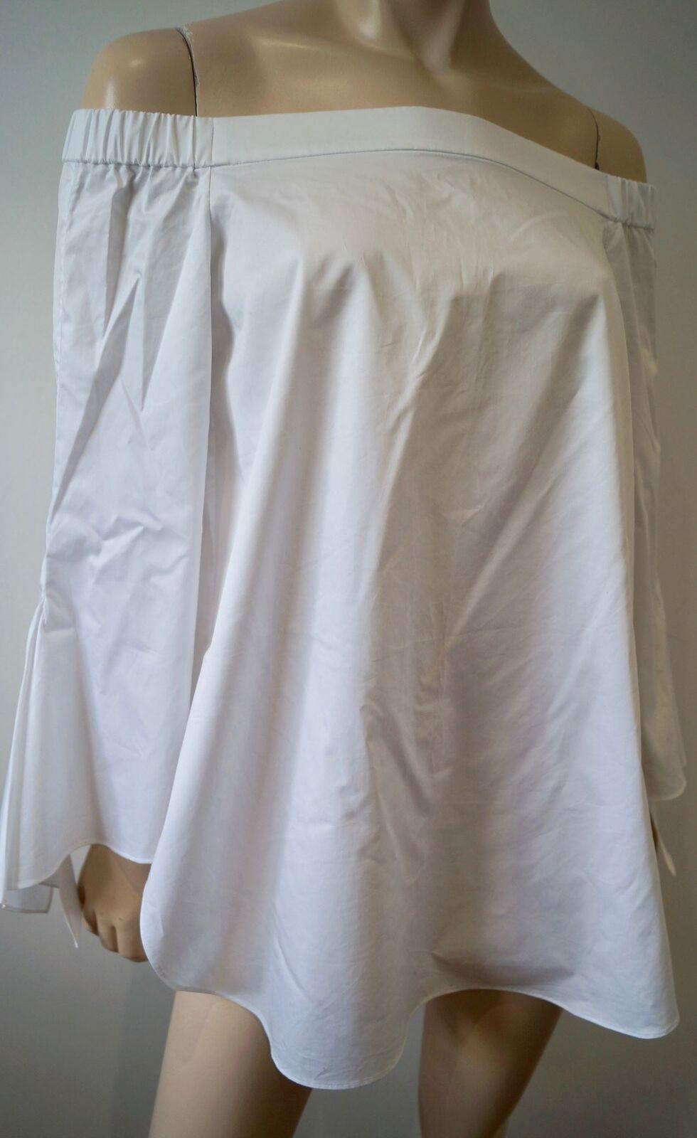 TIBI White Cotton Elasticated Off Shoulder 3 4 Flare Sleeve Blouse Top UK10 BNWT
