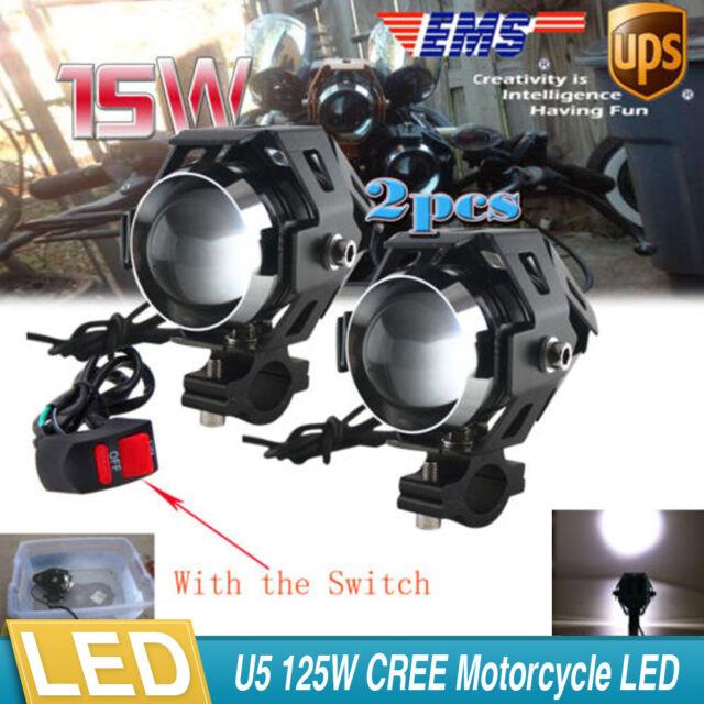 Motorcycle Dual CREE LED Mini Driving Spot Head Light Universal Bobber Chopper