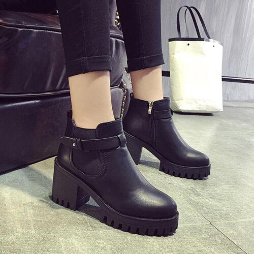 Womens Trendy High Heel Booties Platform Ankle Slip on Boots Martin Boots Shoe