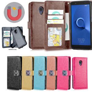 d4e4265f19c6 Details about Alcatel 1X EVOLVE/ IdealXTRA/TCL LX PU Leather 3 Card Slot  Magnet Wallet Detach