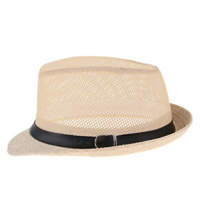 9807fc4f075 Sun Cap Men Womens Fedora Trilby Wide Brim Straw Hat Summer Beach ...