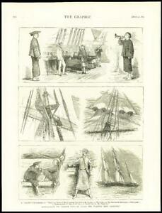 1875-Antique-Print-CHINA-Navy-Training-Ship-Kein-Wei-Bugler-Mast-Captain-133