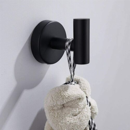 2 Pcs Bathroom Towel Hook Coat Hook Matte Black Robe Hook 304 Hanger