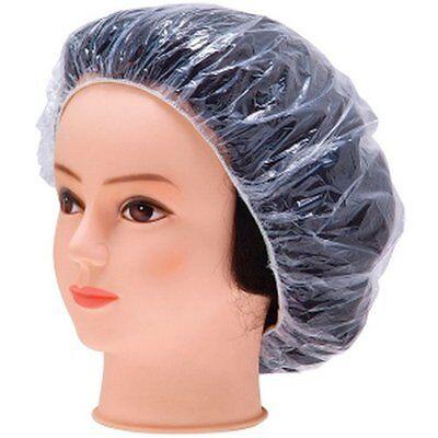 100 PC Spa Salon One-off Bathing Cap Plastic PE Vinyl Clear Shower Hair Bath Cap